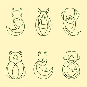 Zestaw liniowych geometrycznych wektorów zwierzęcych