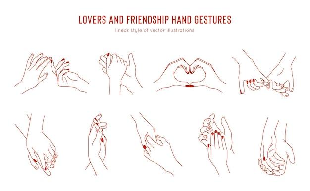 Zestaw liniowych gestów trzymania się za ręce, szablon projektu logo. miłość i przyjaźń