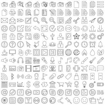 Zestaw liniowych ikon dla sieci web