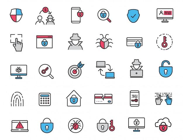 Zestaw liniowych ikon przestępczych ikony bezpieczeństwa