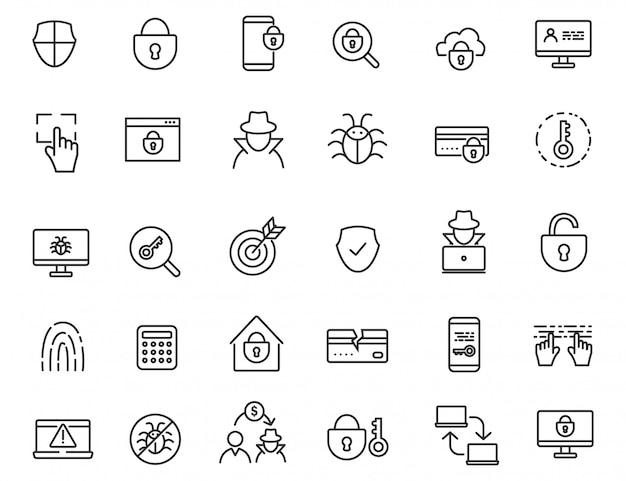 Zestaw liniowych ikon przestępczych.