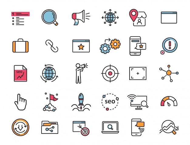 Zestaw liniowych ikon seo ikony promocji