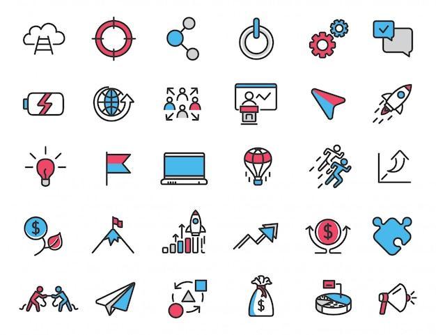 Zestaw liniowych ikon uruchamiania ikony kariery