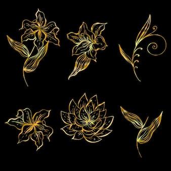 Zestaw liniowych kwiatów do dekoracji w kolorze złotym.