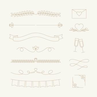 Zestaw liniowych płaskich dekoracji ślubnych