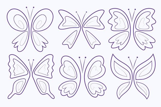Zestaw liniowych płaskich konturów motyli