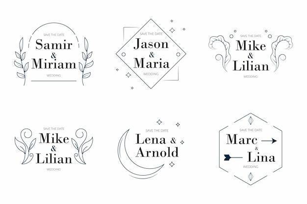 Zestaw liniowych płaskich monogramów ślubnych