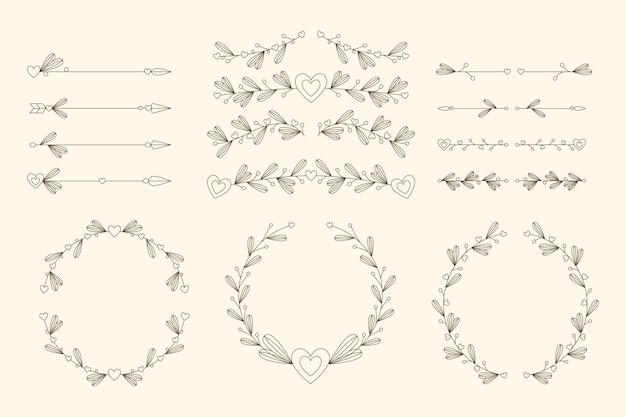 Zestaw liniowych płaskich ozdób ślubnych