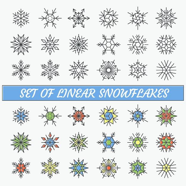 Zestaw liniowych płatków śniegu, linii pustych i kolorowych obiektów konturowych.