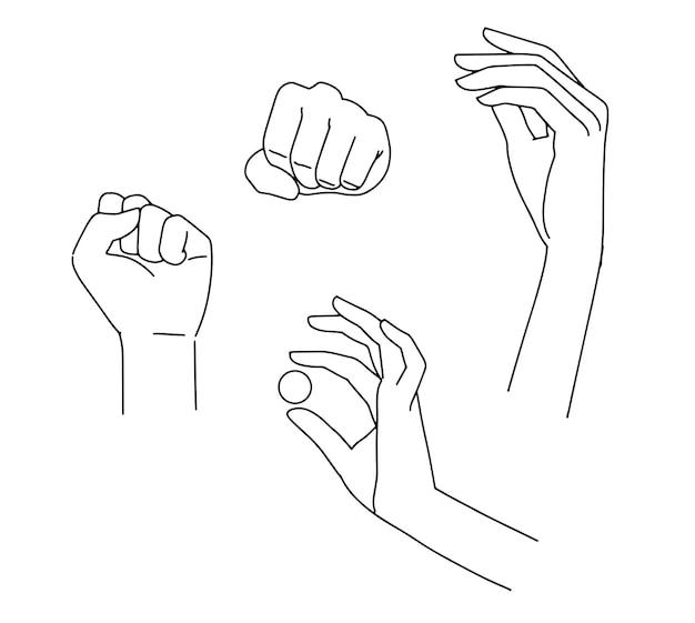 Zestaw liniowych rąk, elegancka kobieta ręce. różne pozy. trzymając małe kółko