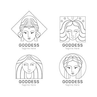 Zestaw liniowych szablonów logo płaskiej bogini