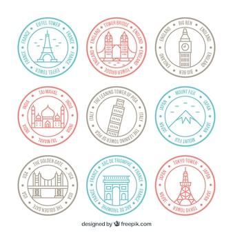 Zestaw liniowych znaczków miasta w pastelowych kolorach