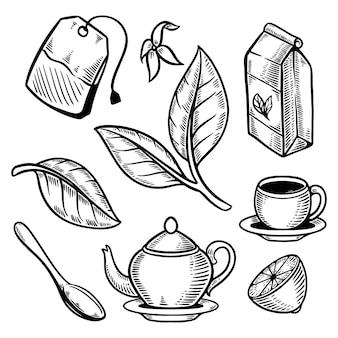 Zestaw liści filiżanki herbaty doodle retro ilustracji