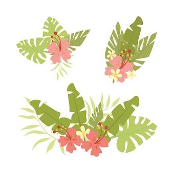 Zestaw liści i kwiatów palmowych