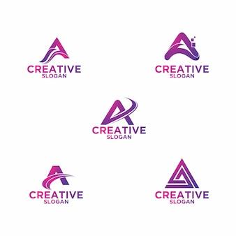 Zestaw listów logo w trójkącie kwadratowy szablon premium wektor monogram