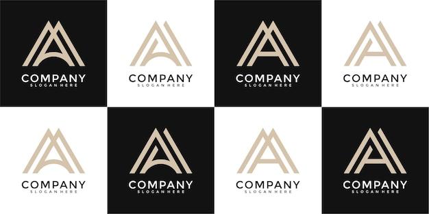 Zestaw listów szablon projektu logo monogram