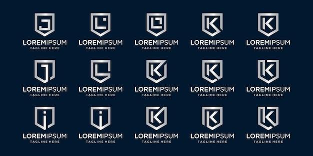 Zestaw listu jlk monogram i tarcza znak kombinacja bezpieczeństwa moc bezpieczeństwa luksusowy logotyp