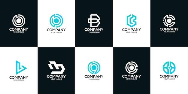 Zestaw listu szablon logo bcw9g premium wektor monogram