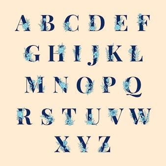 Zestaw liter alfabetu botanicznego wektor zestaw