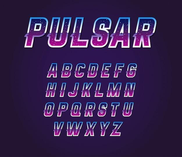 Zestaw liter alfabetu czcionek retro pulsar z lat 80