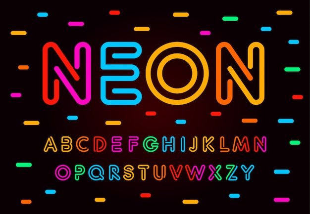 Zestaw liter, cyfr i symboli neonowych. kolorowa tuba w stylu abc