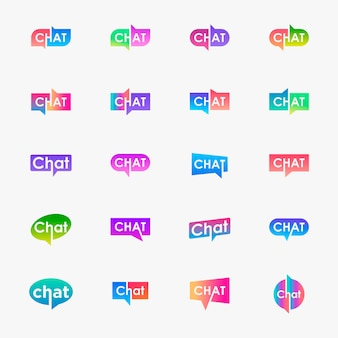 Zestaw liter czatu z logo bańki. mówić, mówić, szablon logo. szablon logotypu czatu.