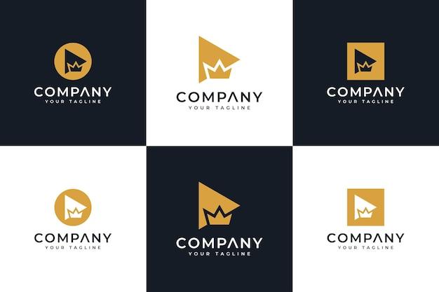 Zestaw liter i luksusowych projektów logo korony do wszystkich zastosowań
