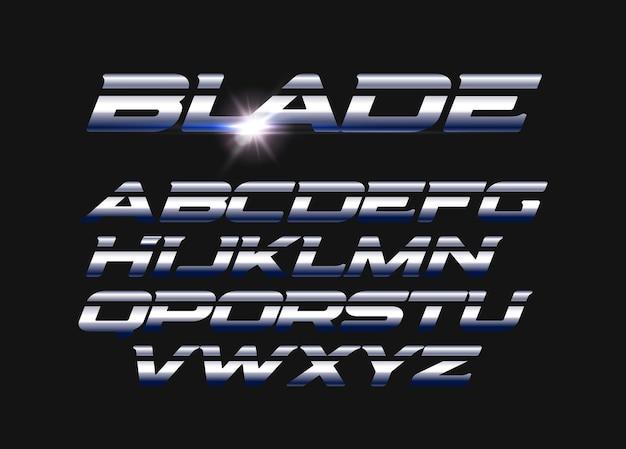 Zestaw liter wektor ostrza. pocięty alfabet z elegancką stalową teksturą. elegancki metalowy styl wektor alfabetu łacińskiego. projekt typografii.