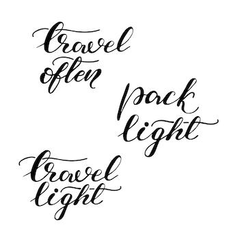 Zestaw liter ze zwrotami podróży. ilustracji wektorowych.