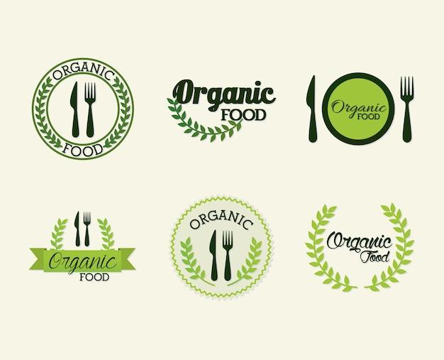 Zestaw liternictwo żywności ekologicznej na biały ilustracja projektu