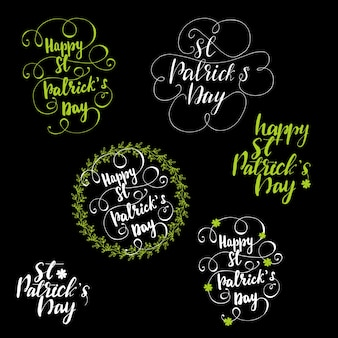 Zestaw literowanie pozdrowienia dla st patrick's day. ilustracji wektorowych.