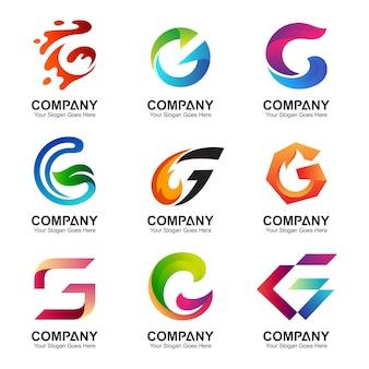 Zestaw literowy g logo szablon