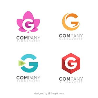 Zestaw litery g logo