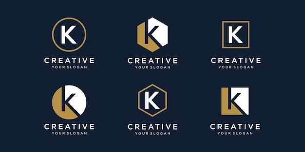 Zestaw litery projektu logo k z kwadratowym stylem