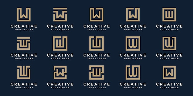 Zestaw litery w logo z kwadratowym stylem. szablon