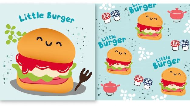 Zestaw Little Burger Premium Wektorów