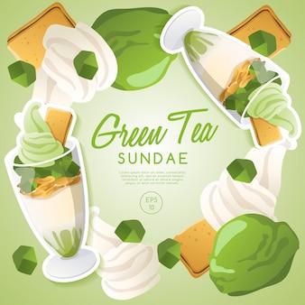 Zestaw lodów lodowych, sundae zielonej herbaty.