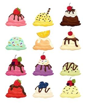 Zestaw lodów o różnych smakach i owocach