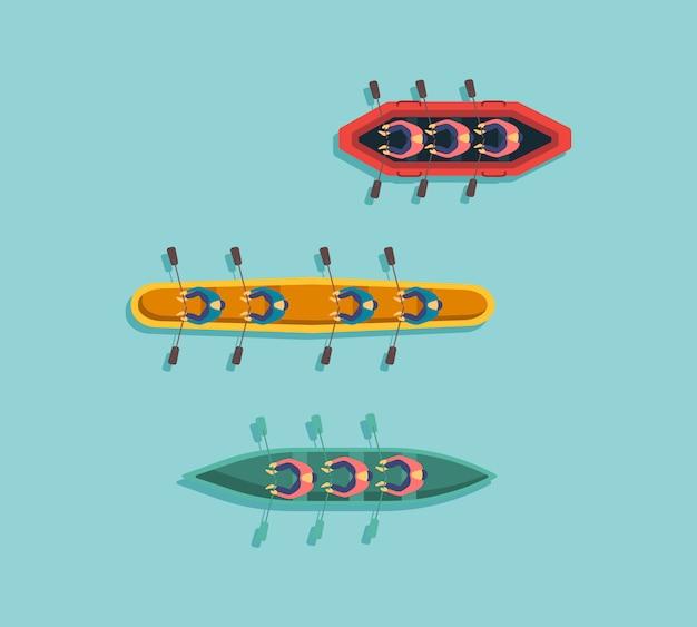 Zestaw łodzi, kajaków z ludźmi w środku. odgórnego widoku rybaka łodzie na wodzie. rzeka lub morze, jezioro lub staw z motorówką lub drewnianą żaglówką. ilustracja,.
