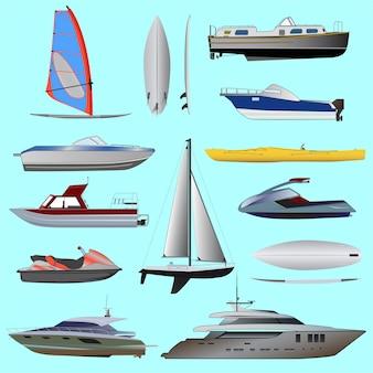 Zestaw łodzi. żaglówki i łodzie motorowe, jacht, skuter wodny, łódź, motorówka, statek wycieczkowy, windsurfing.