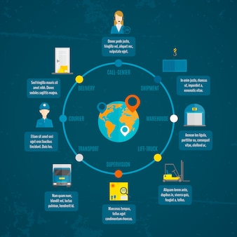Zestaw logistyczne infografiki
