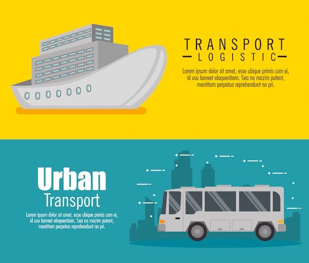 Zestaw logistyczny transportu ustaw baner pojazdów