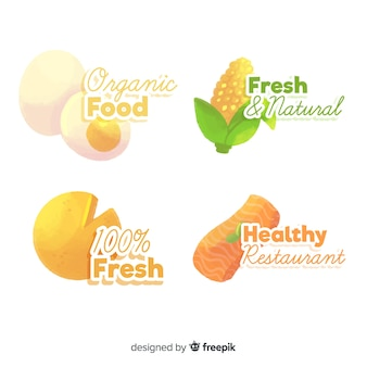 Zestaw logo akwarela zdrowej żywności