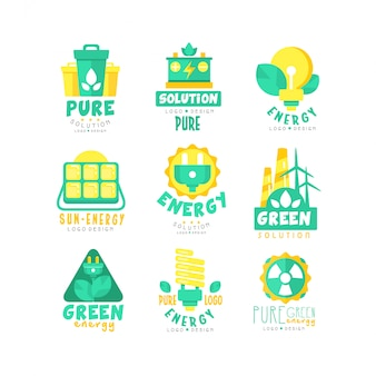 Zestaw logo alternatywnych źródeł zielonej energii
