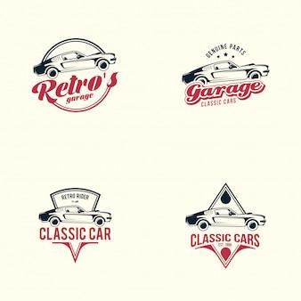Zestaw logo amerykańskiego samochodu mięśni. klasyczny samochód retro