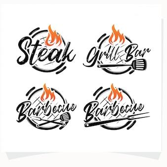 Zestaw logo bbq grill grill house