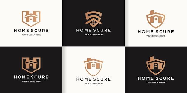 Zestaw logo bezpieczeństwa w domu, logo kombinacji domu i tarczy