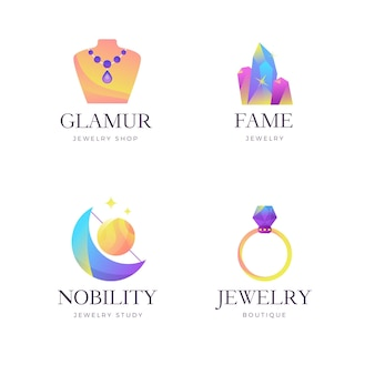 Zestaw logo biżuterii gradientu