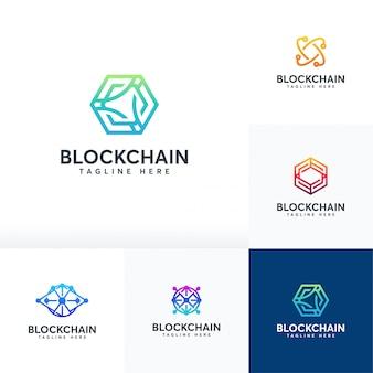 Zestaw logo blockchain, symbol logo technologii