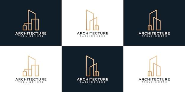 Zestaw logo budynku nowoczesnej architektury